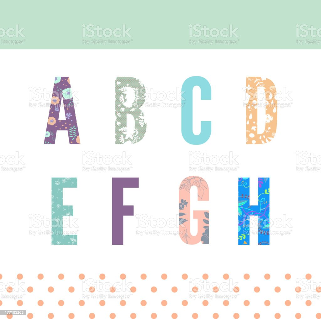 Floral alphabet royalty-free stock vector art