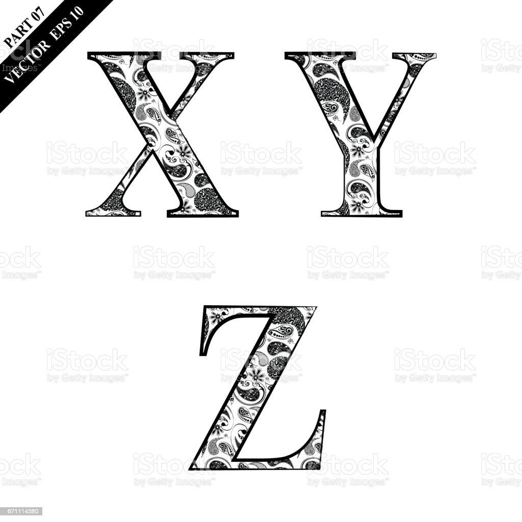 Floral Alphabet vector art illustration