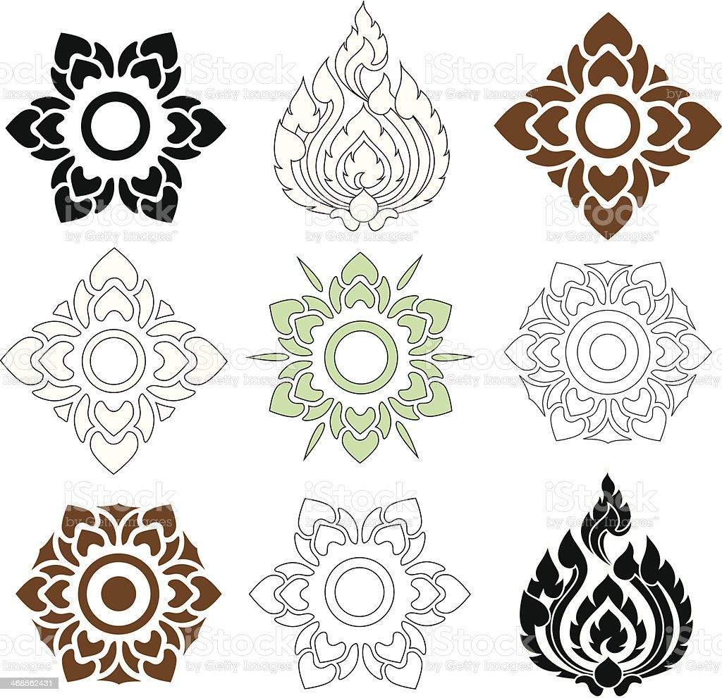 floral and leaves of Thai pattern vector art illustration