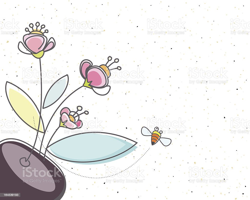 Floral and the Bee royalty-free stock vector art