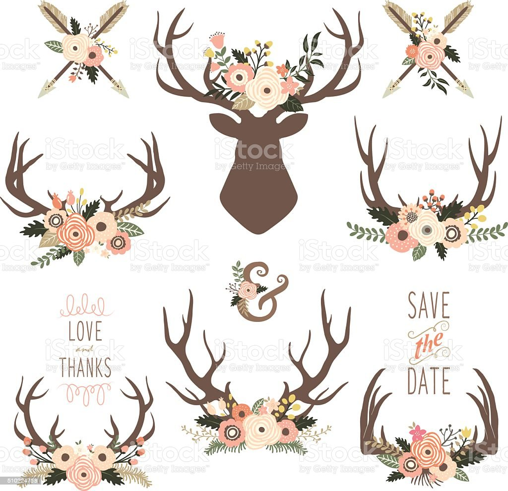 Floral Antlers Elements - Illustration vector art illustration