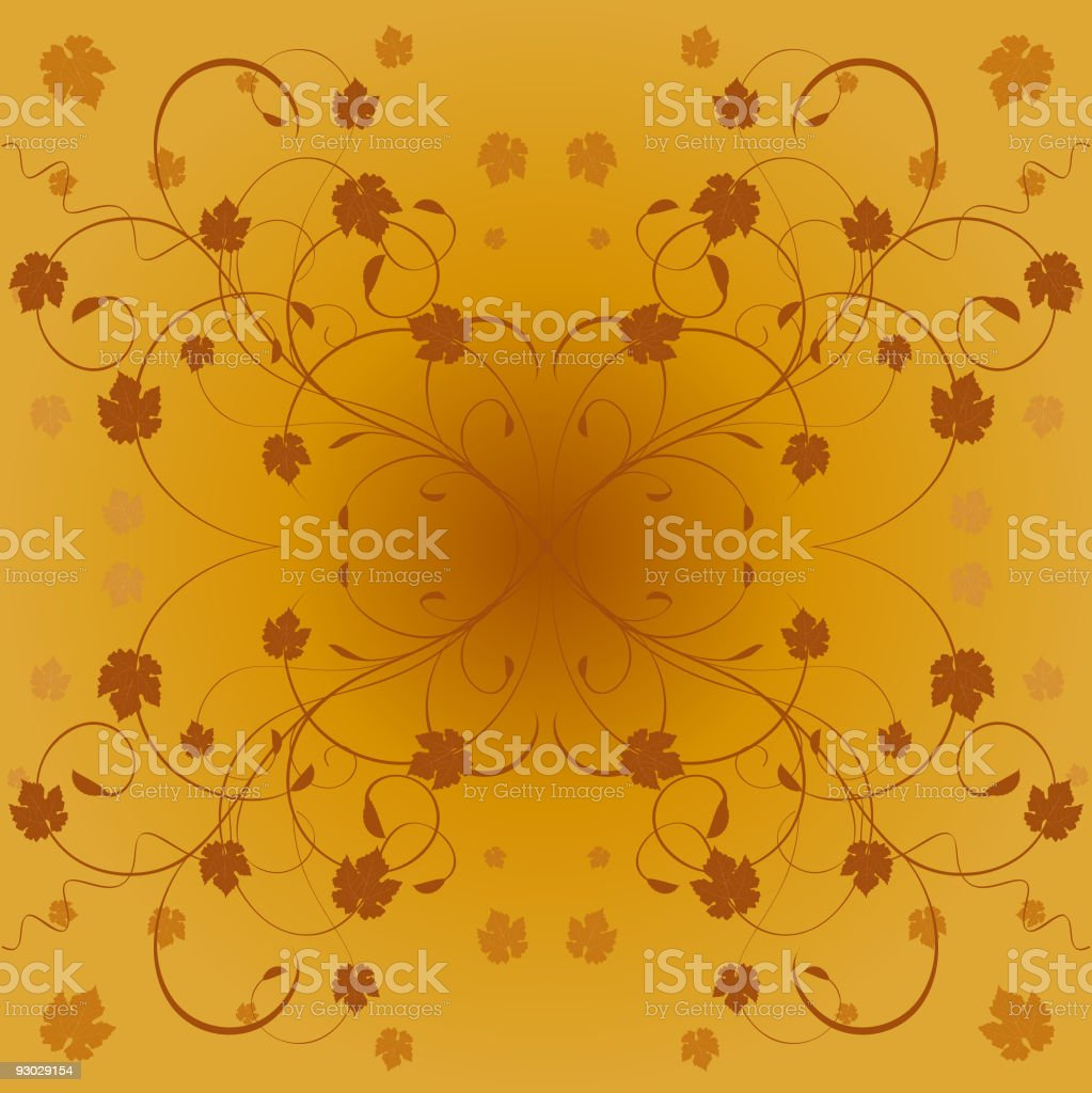 Floral autumn leaves vector art illustration