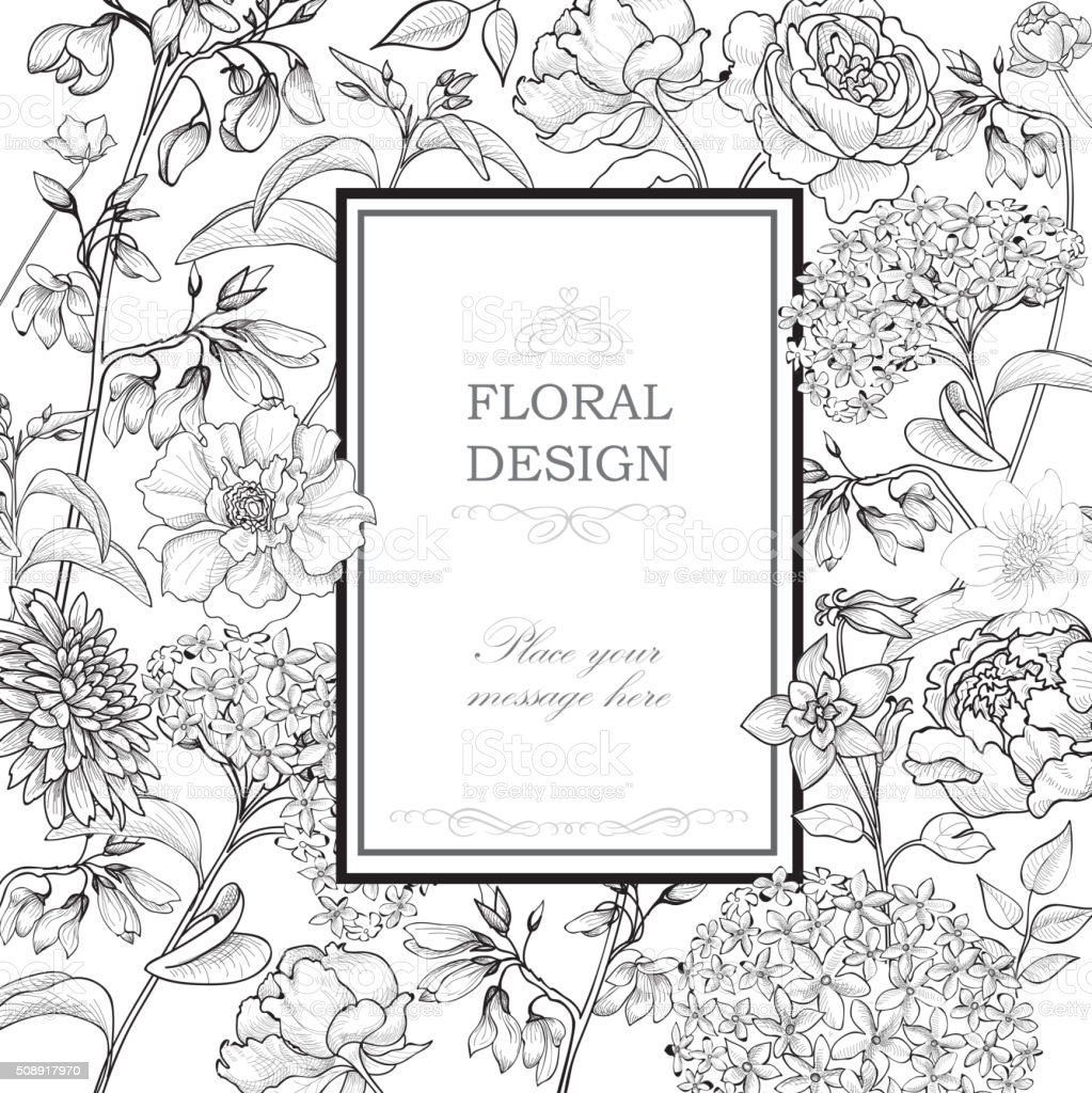 Floral background. Flourish greeting card. vector art illustration