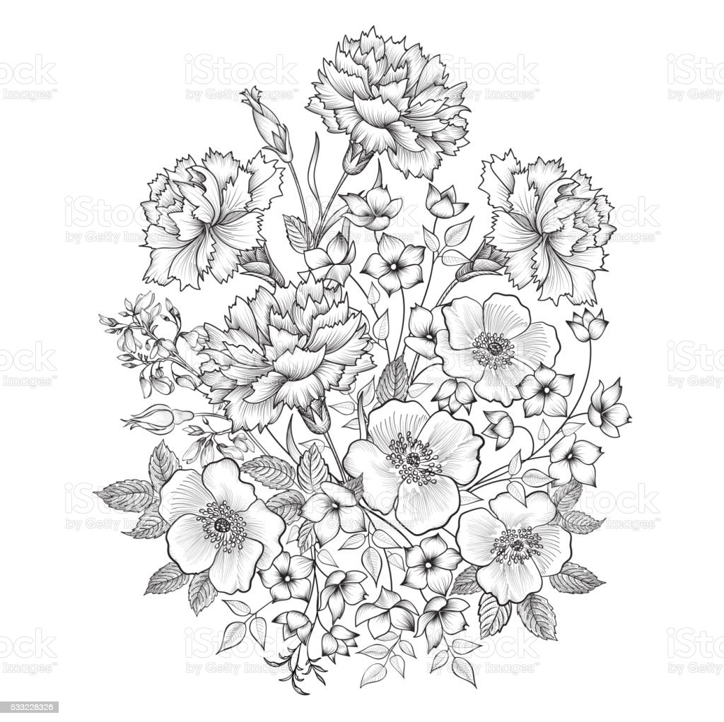 Floral background. Flower bouquet greeting card. vector art illustration