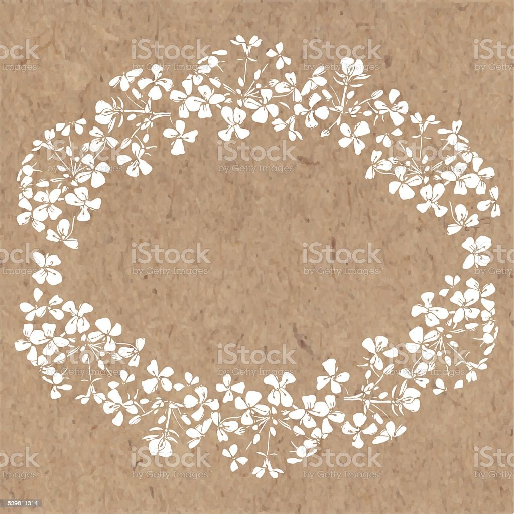 Floral background with abstract flowers on kraft paper. vector art illustration