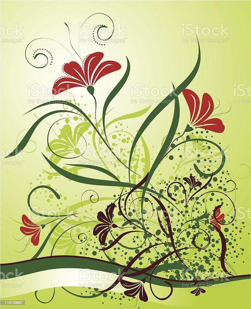 floral background with banner vector art illustration