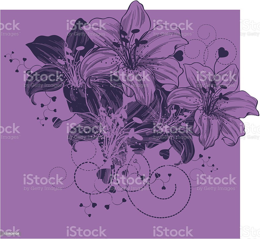Floral background with blooming lilies and heart royalty-free stock vector art