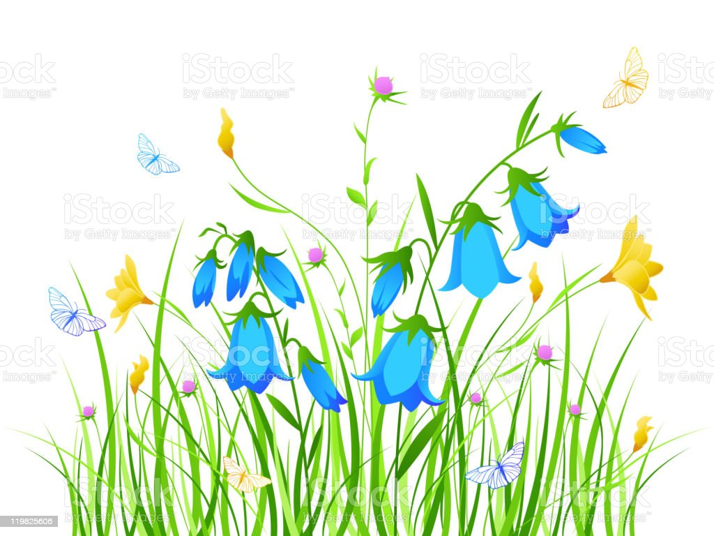 floral background with blue and yellow flowers vector art illustration