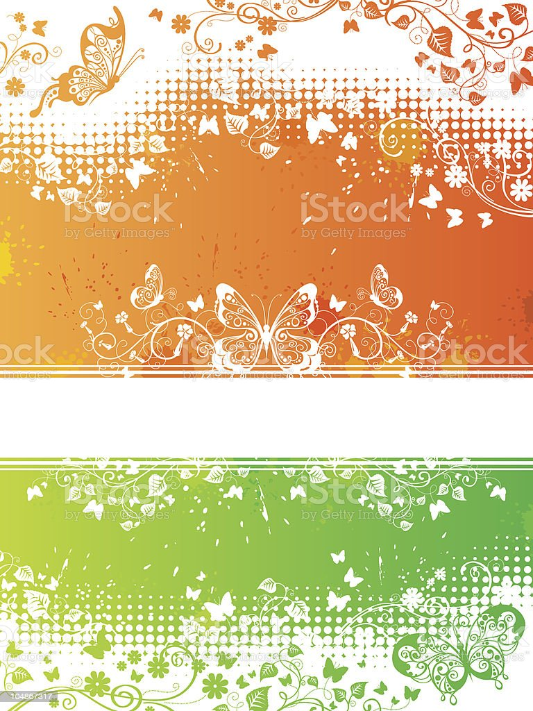 Floral background with butterflies royalty-free stock vector art