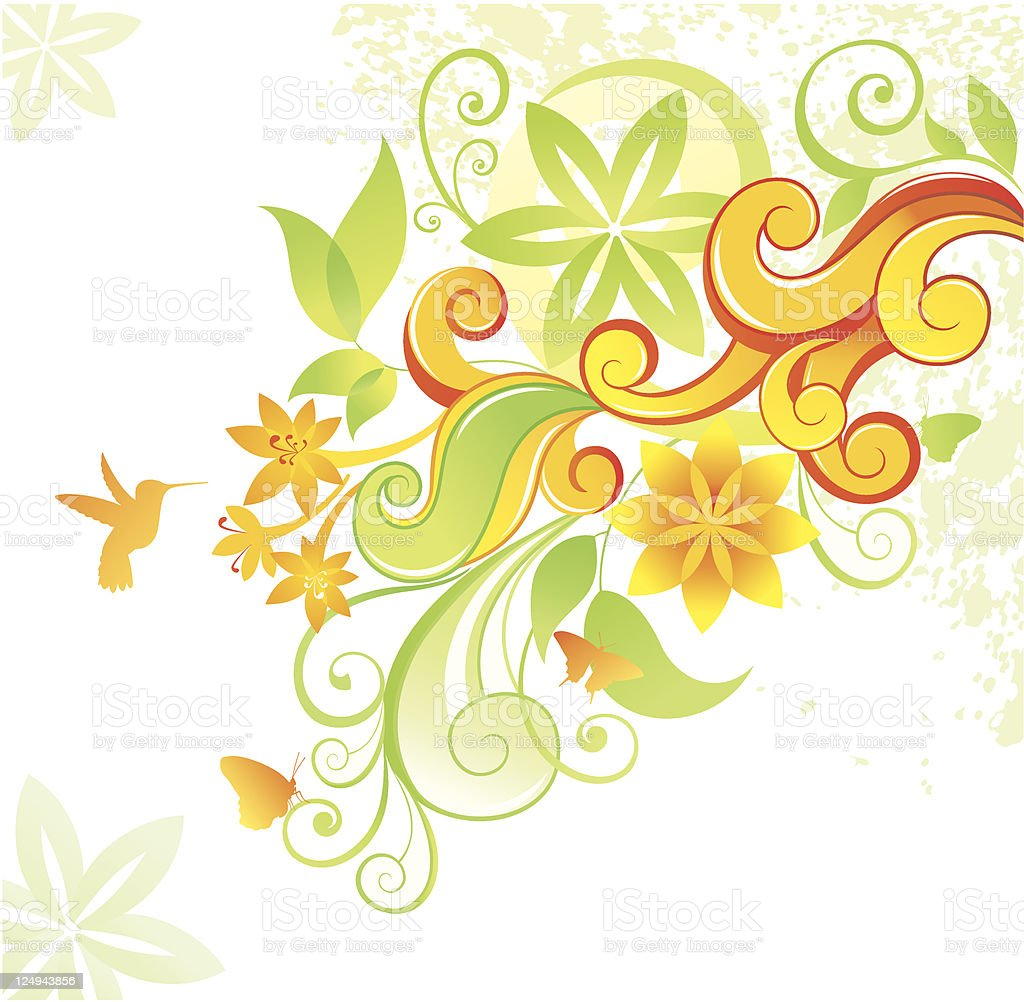 Floral background with hummingbird and butterfly. royalty-free stock vector art