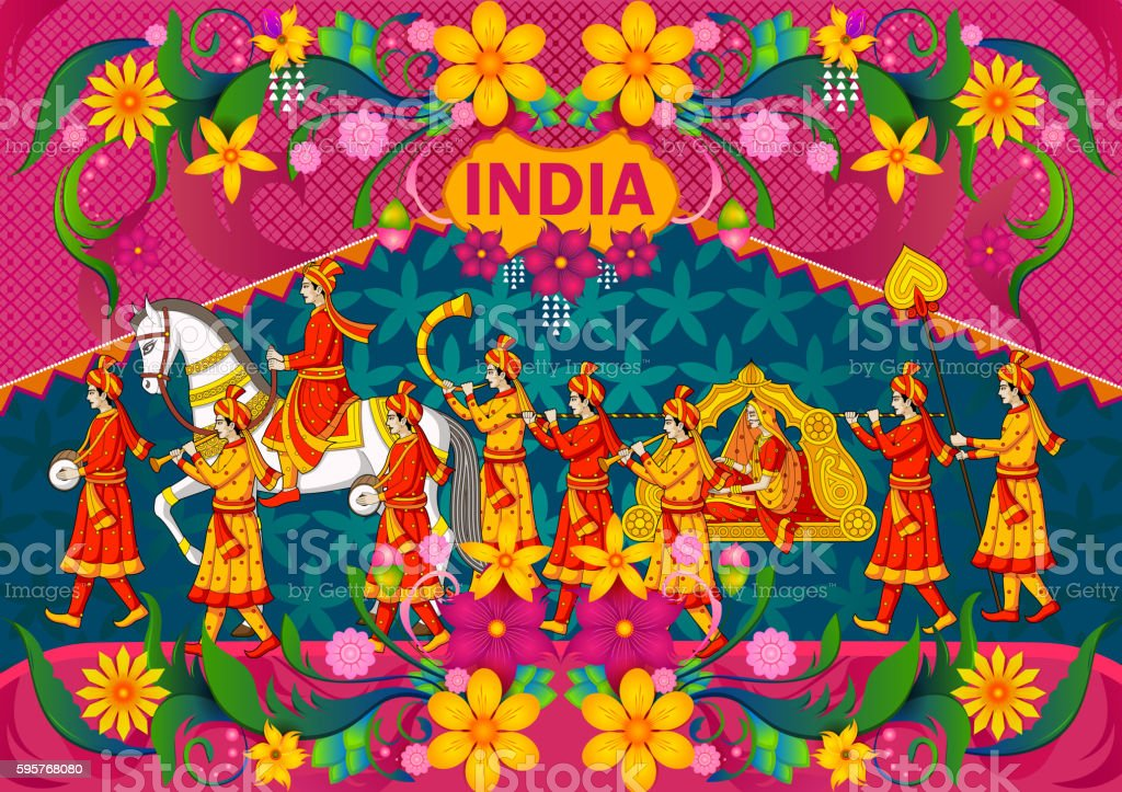 Floral background with Indian wedding baraat showing Incredible India vector art illustration