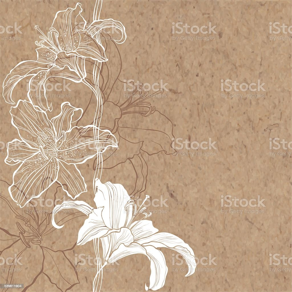 Floral background with lily on kraft paper. vector art illustration