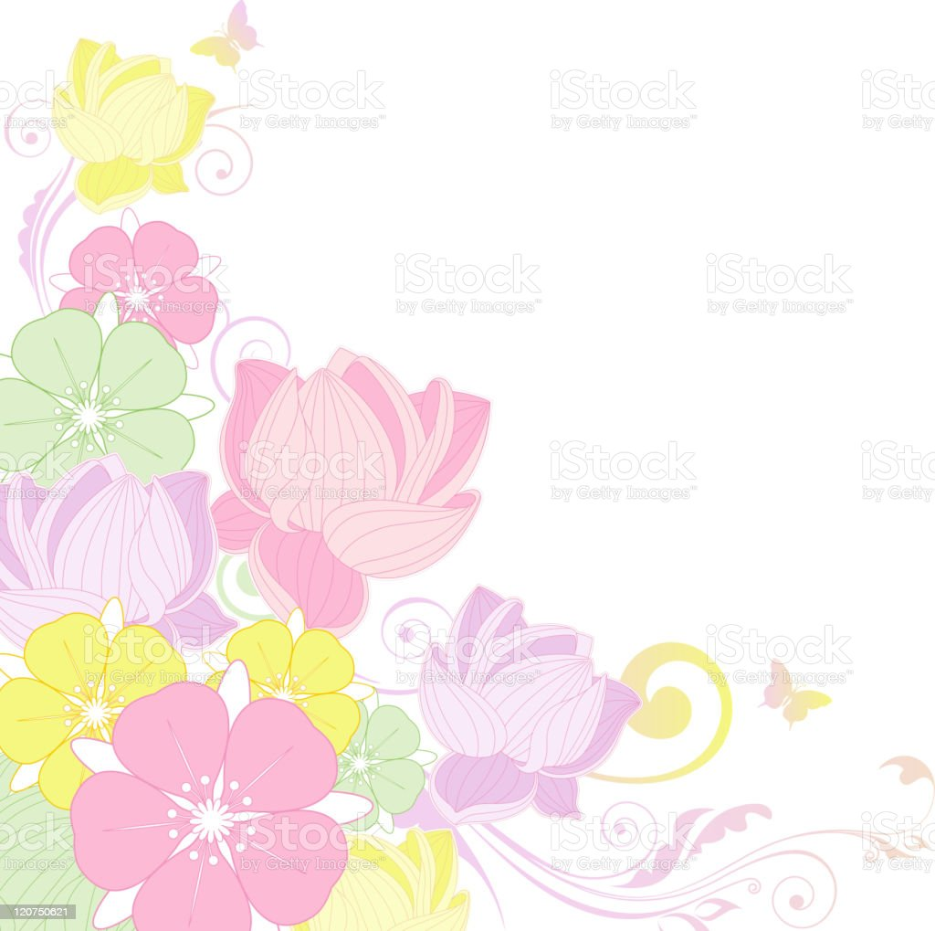 floral background with lotus royalty-free stock vector art