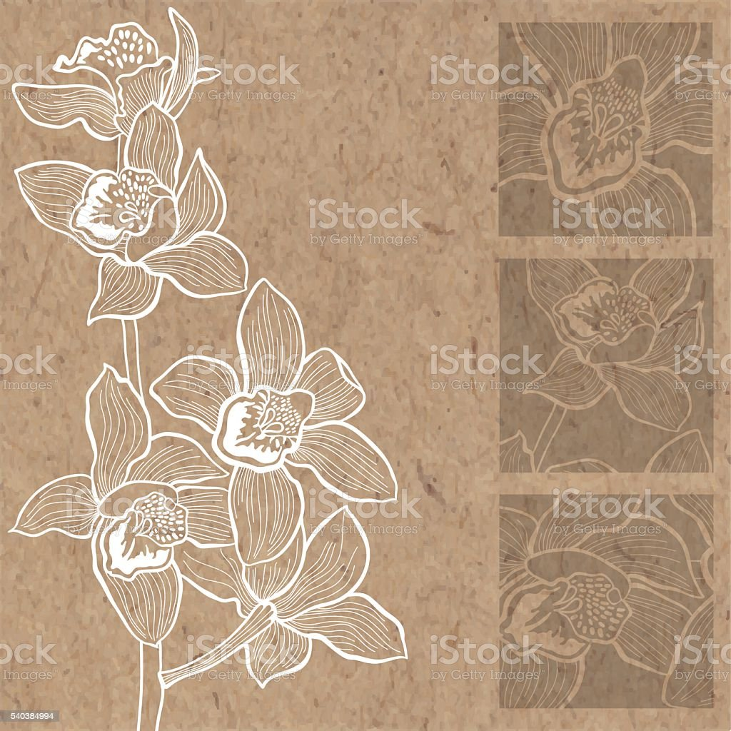 Floral background with orchids on kraft paper. vector art illustration