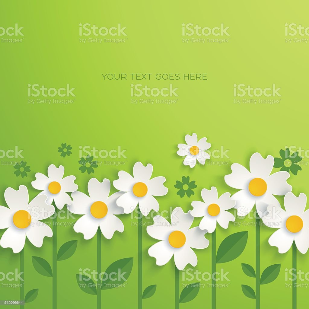 Floral background with paper flowers vector art illustration