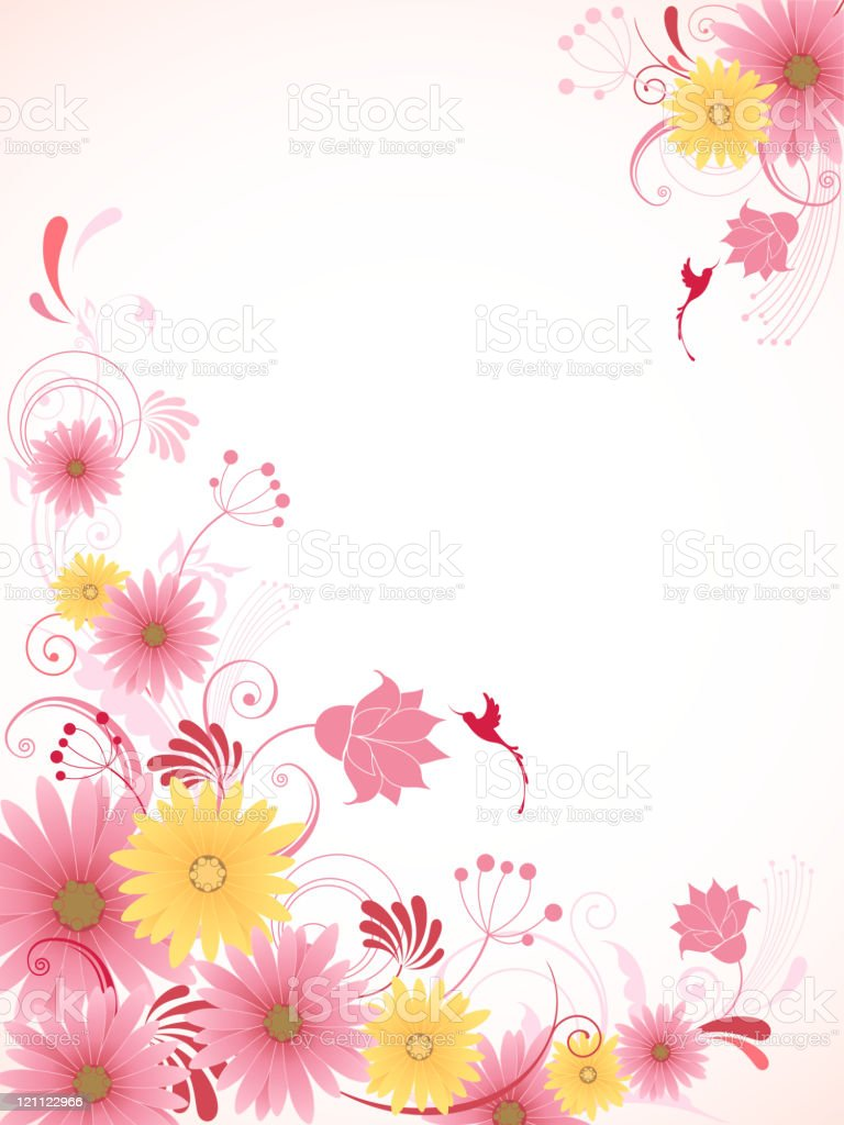 floral background with pink flowers royalty-free stock vector art