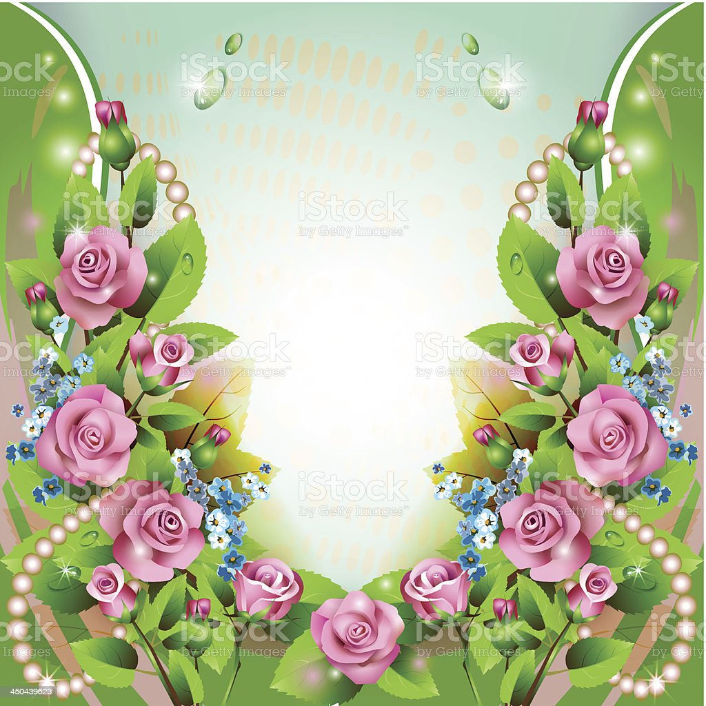 Floral background with pink roses royalty-free stock vector art