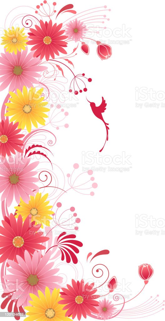 floral background with red flowers royalty-free stock vector art