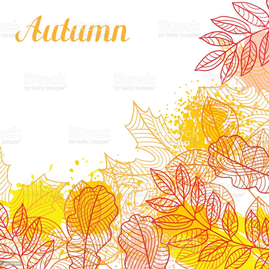 Floral background with stylized autumn foliage. Falling leaves vector art illustration