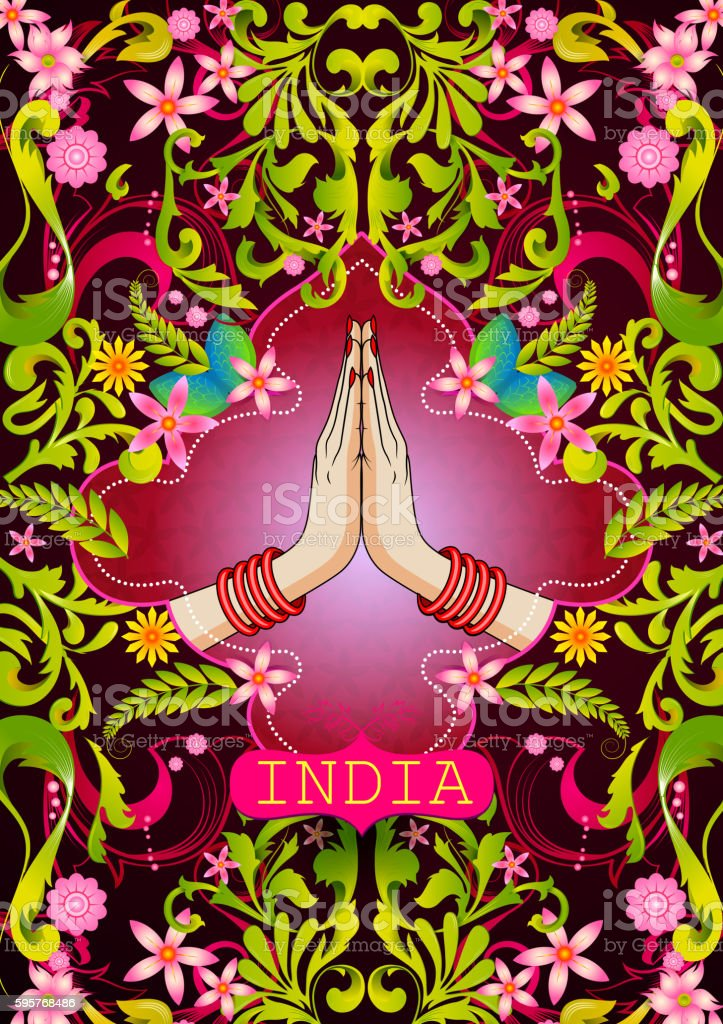 Floral background with Welcome gesture hands of Indian woman showing vector art illustration