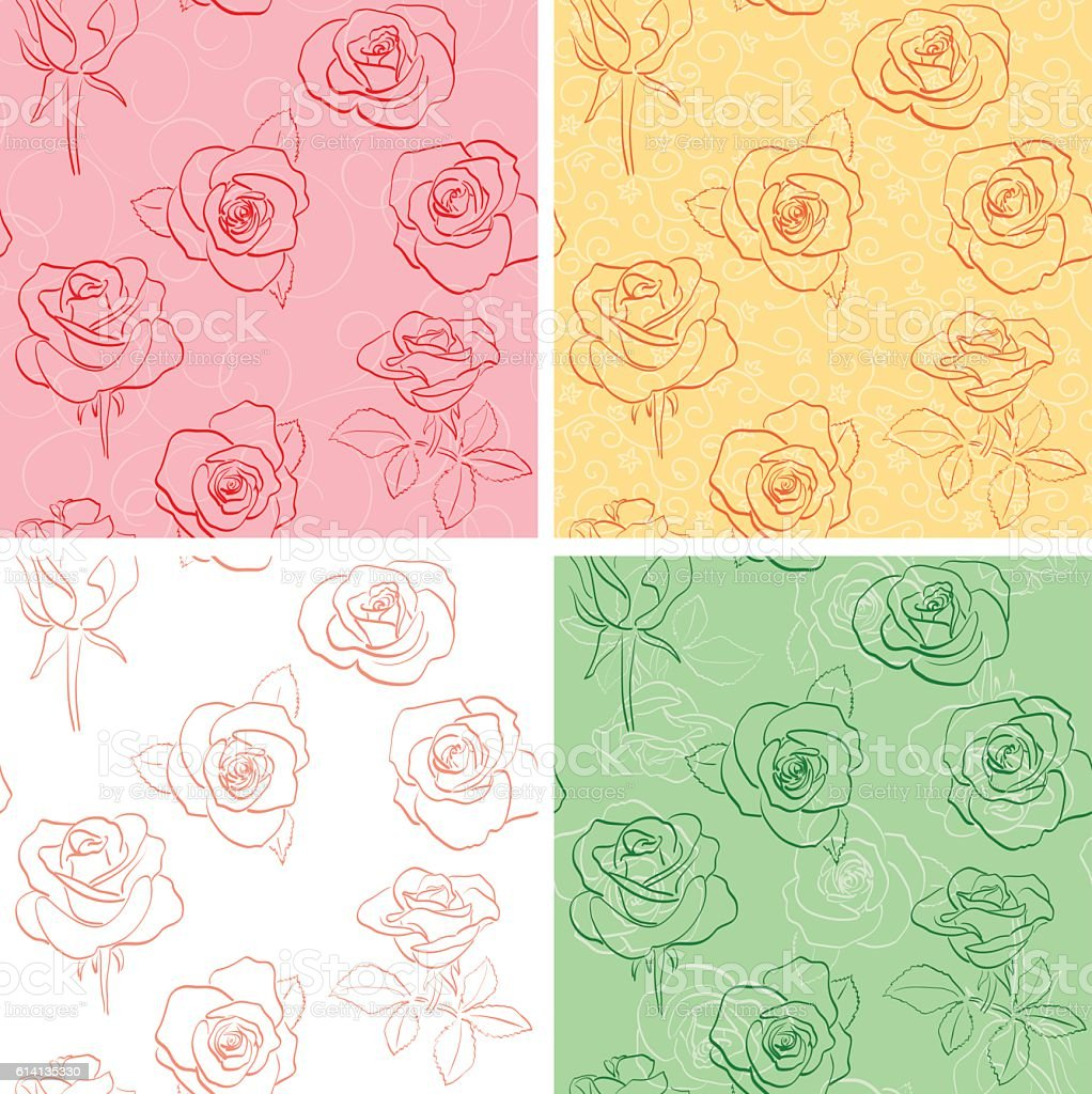 floral backgrounds with beautiful roses - vector set vector art illustration