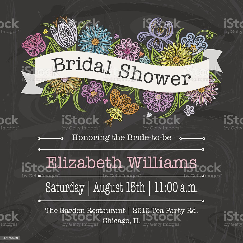 Floral Banner Bridal Shower Invitation vector art illustration