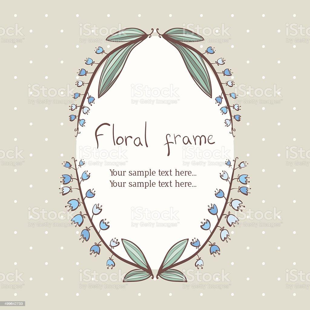floral bellflower wreath frame for text vector art illustration