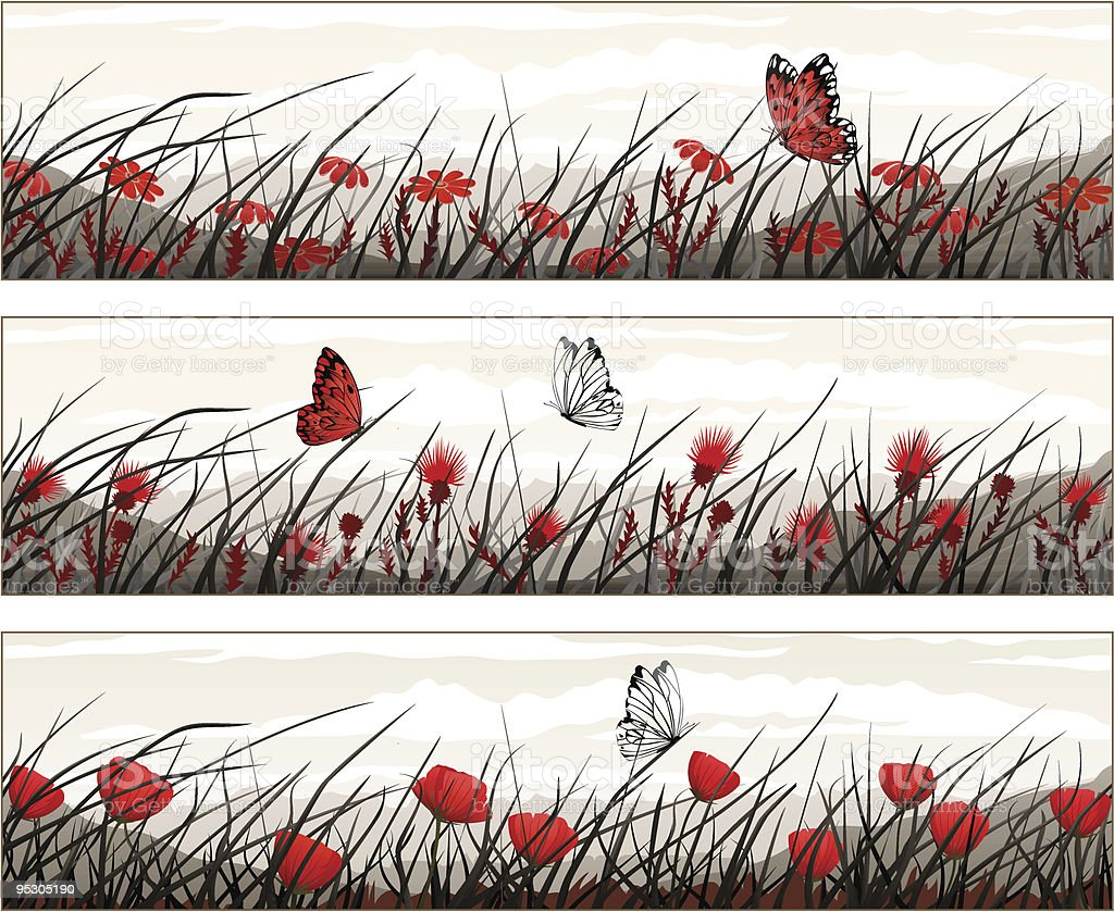 Floral black-white-and-red banners royalty-free stock vector art