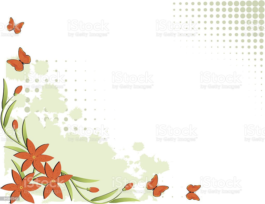 floral border design, red lilies, space for the text vector art illustration