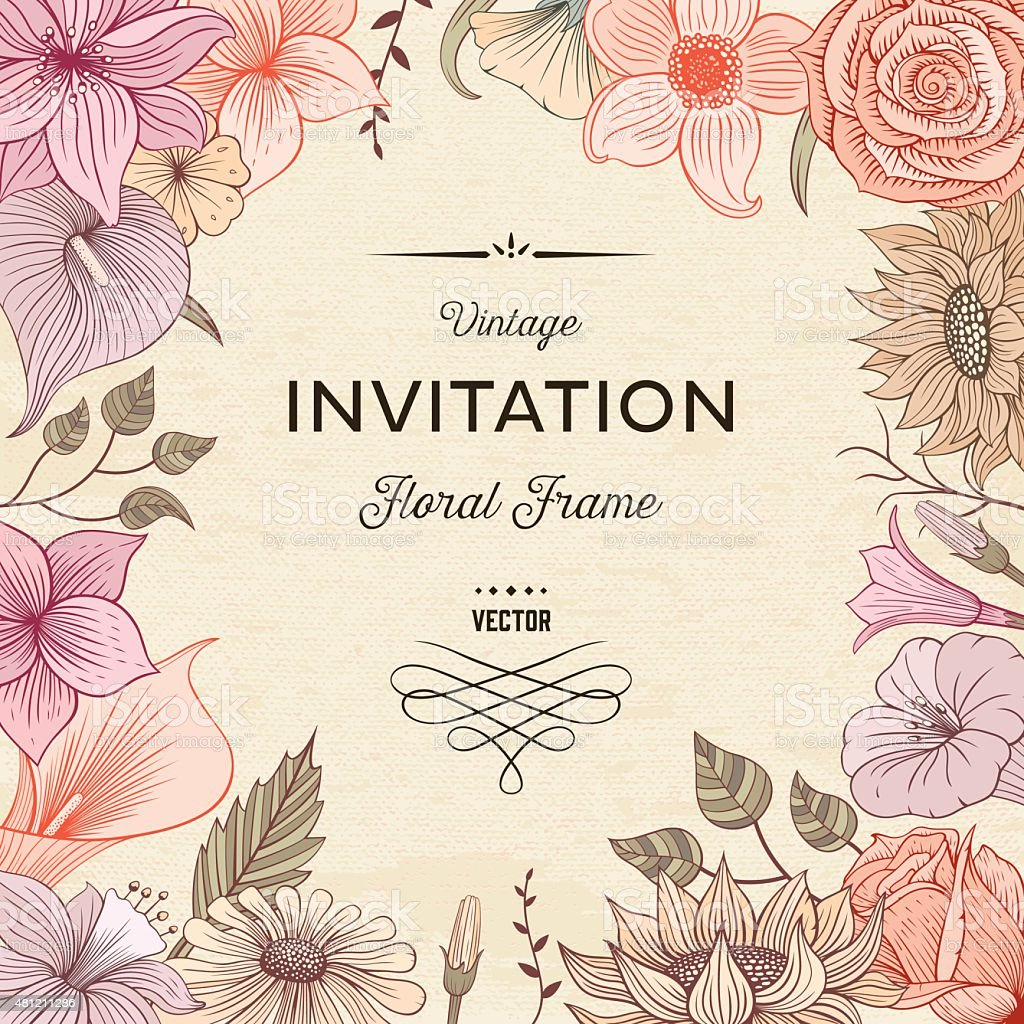 Floral border textured vector art illustration