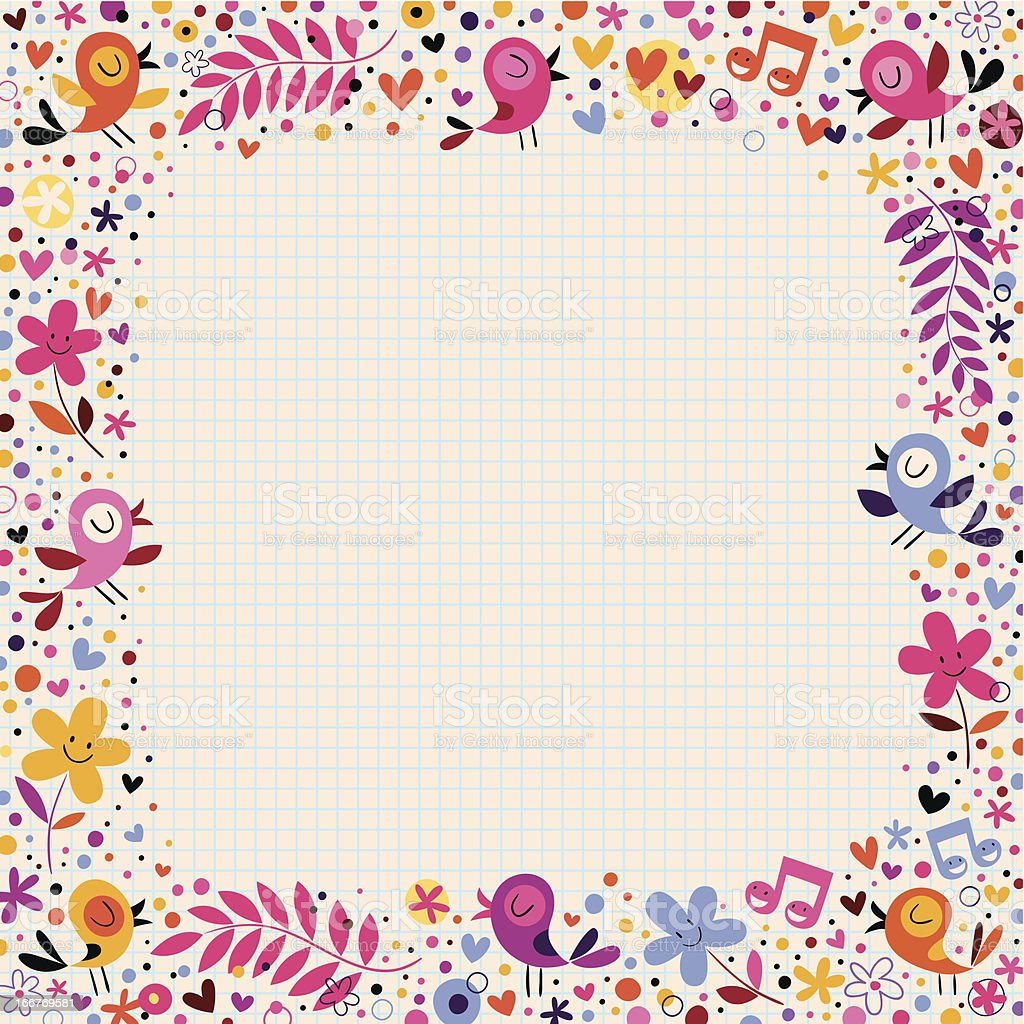 floral border with birds royalty-free stock vector art