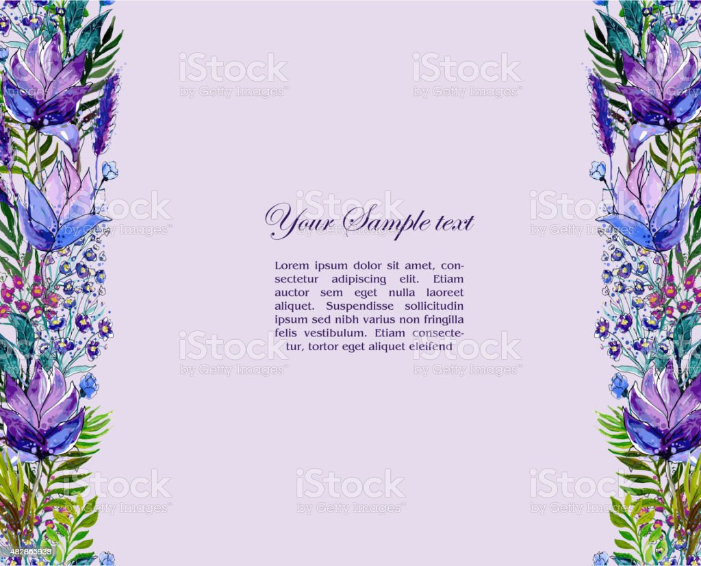 Floral border with wildflowers vector art illustration
