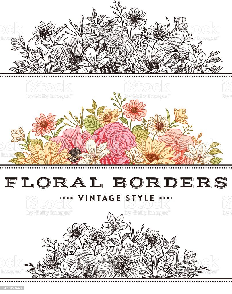 Floral Borders vector art illustration