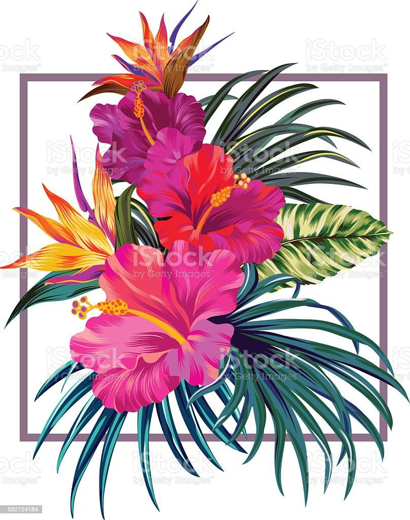 floral bouquet with frame. vector art illustration