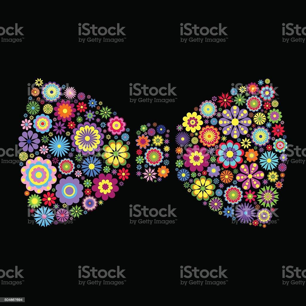 floral bow tie on black background vector art illustration
