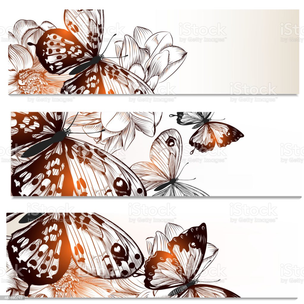 Floral business cards set with butterflies and  flowers  for des royalty-free stock vector art