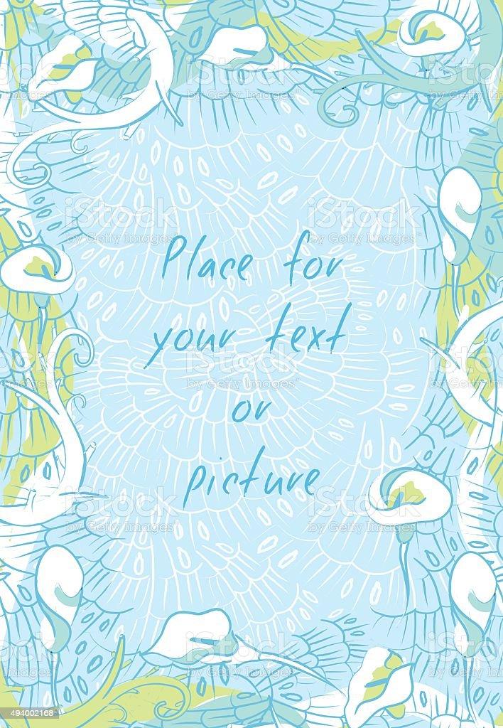 Floral Calla Lily vertical frame banner on blue background vector art illustration