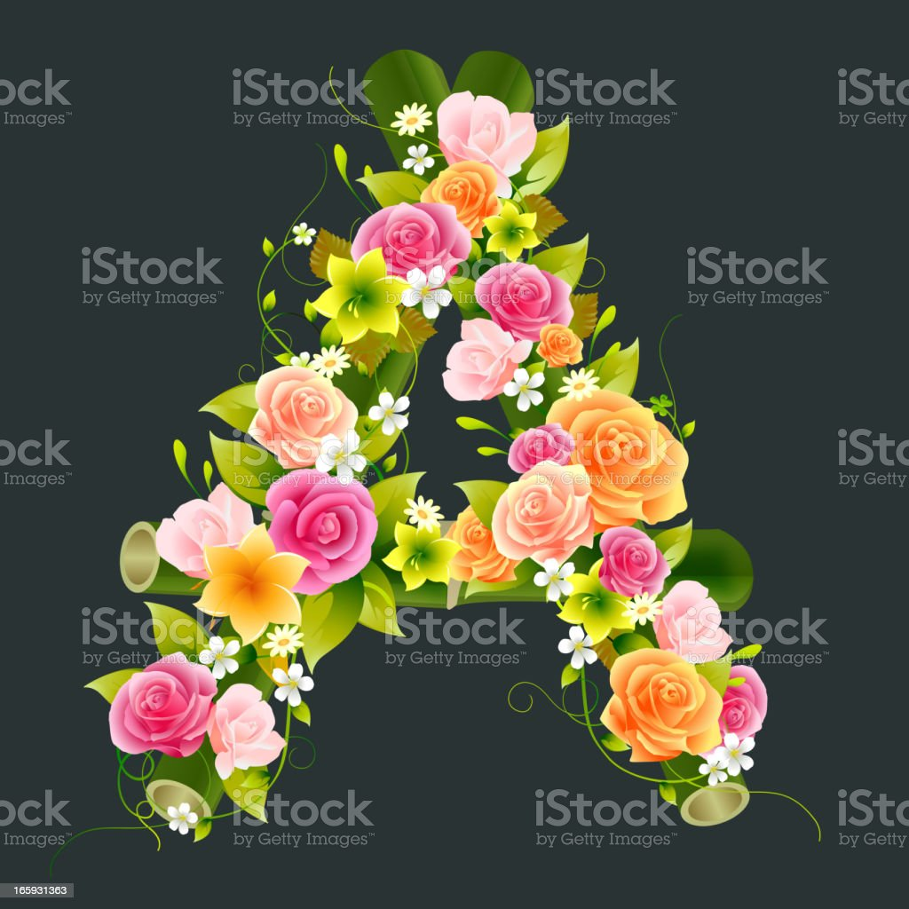 Floral Capital letter A on bamboo vector art illustration