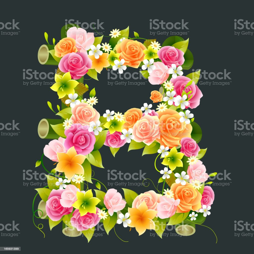 Floral Capital letter B on bamboo royalty-free stock vector art