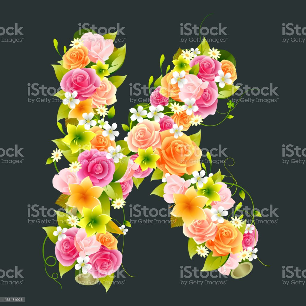 Floral Capital letter K on Bamboo royalty-free stock vector art