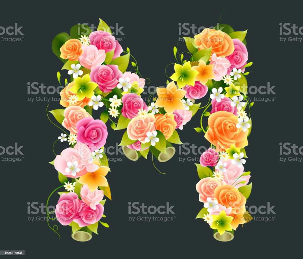 Floral Capital letter M on Bamboo royalty-free stock vector art