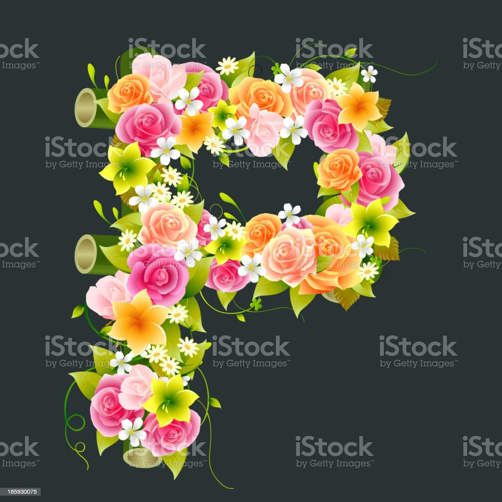 Floral Capital letter P on Bamboo royalty-free stock vector art