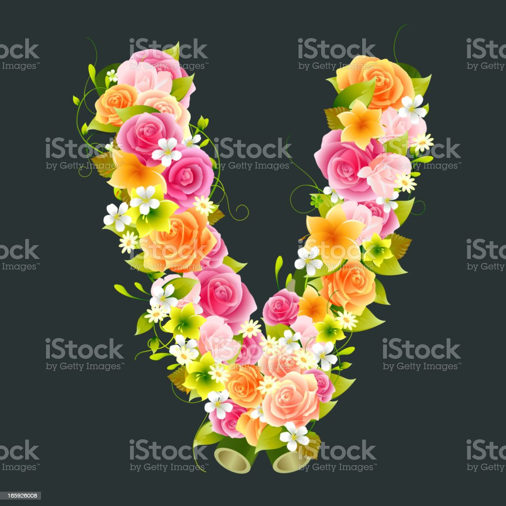 Floral Capital letter V on Bamboo vector art illustration