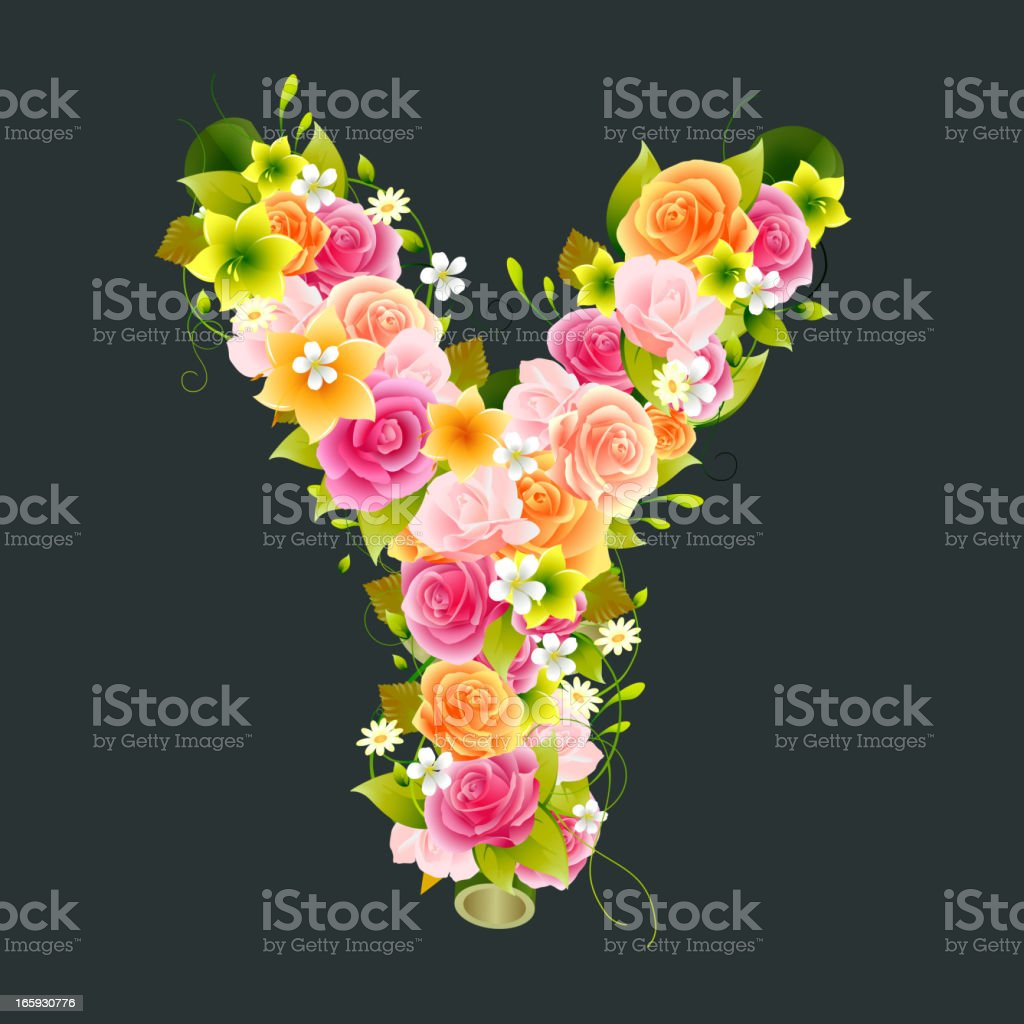 Floral Capital letter Y on Bamboo vector art illustration