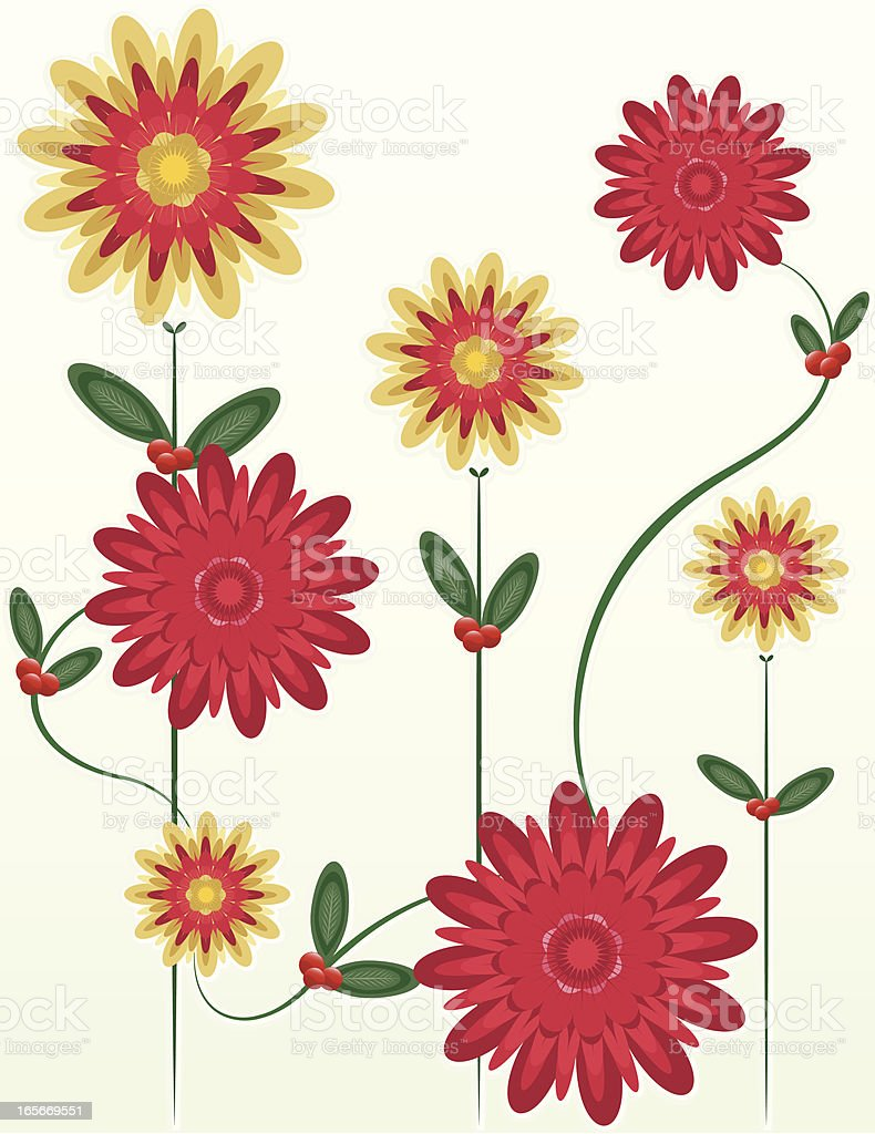 Floral Christmas Design - Reds, Golds, Greens royalty-free stock vector art