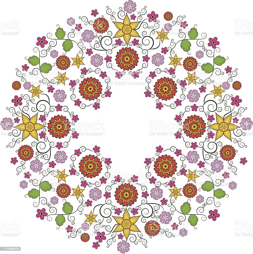 Floral Circle Frame royalty-free stock vector art