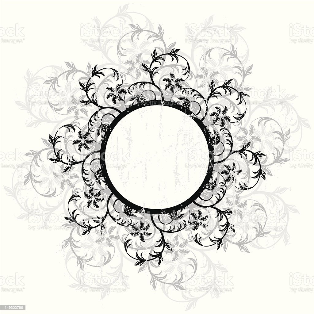Floral circle tag royalty-free stock vector art