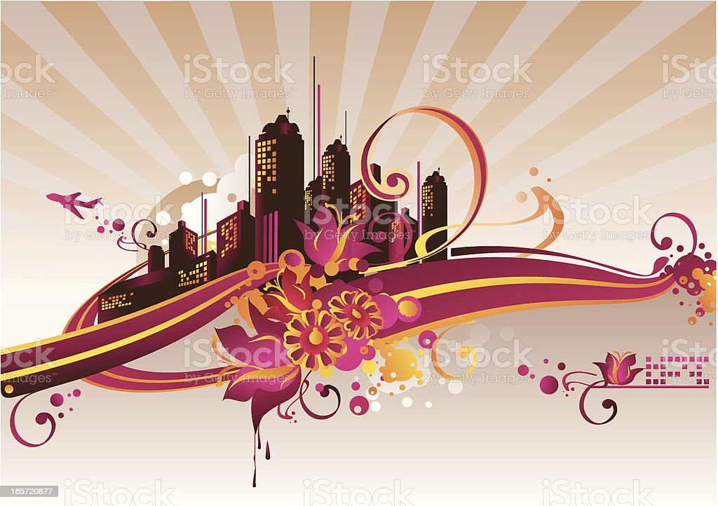 Floral cityscape royalty-free stock vector art