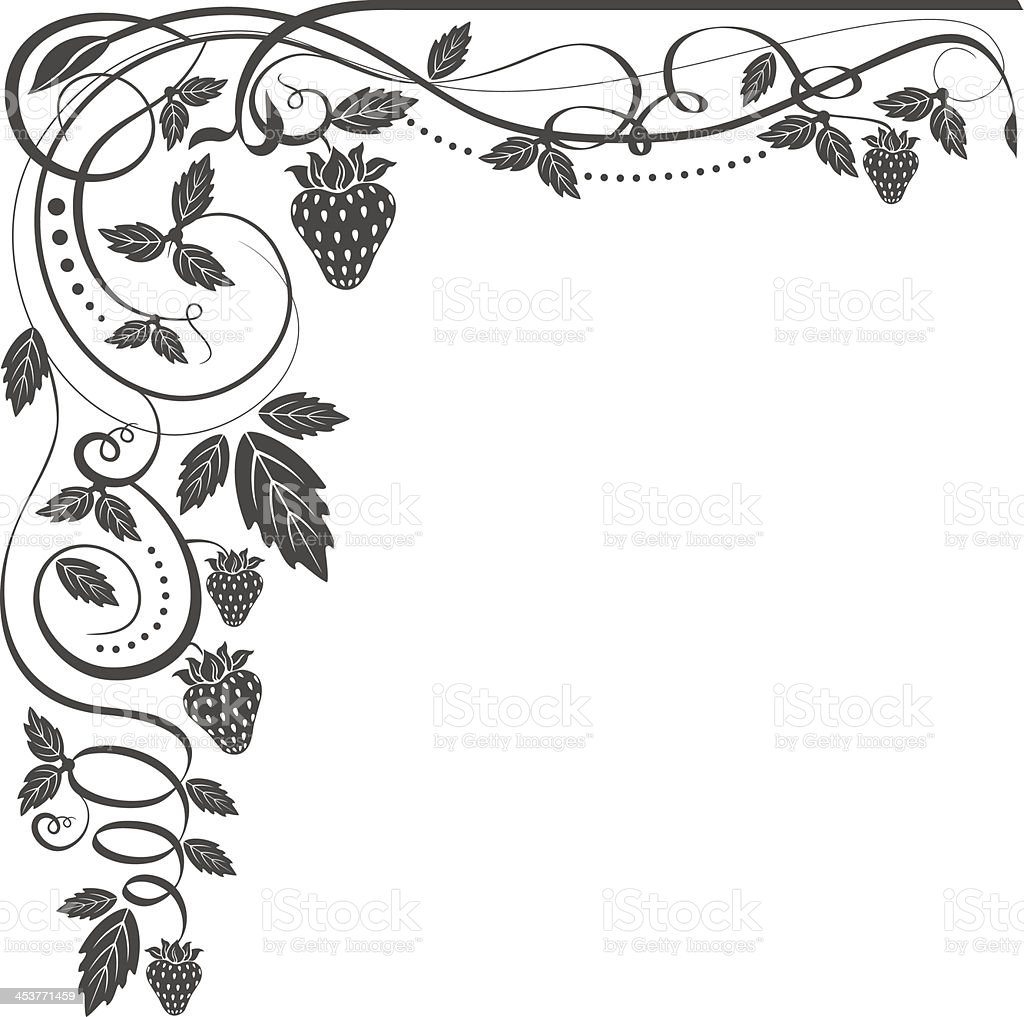 Floral Corner With Strawberrys royalty-free stock vector art