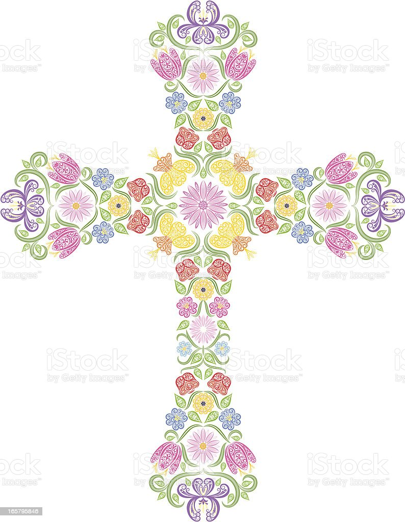 Floral Cross royalty-free stock vector art